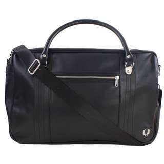 BN Authentic Fred Perry Pique Textured Overnight Bag - Black