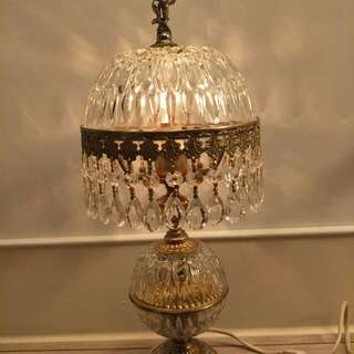 古董水晶燈/桌燈 (小天使裝飾 古銅底座)