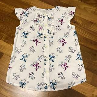New Girl's Shirt with Chic Cat Prints