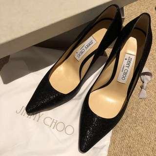 Jimmy Choo Romy 37 size 85cm Black Glitter Pumps Heels shoes