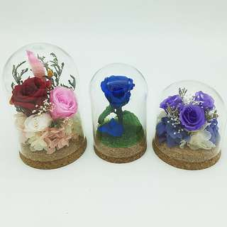 Real preserved roses in dome shape glass