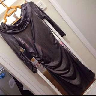 David Meister metallic sheen dress