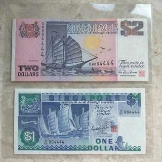 004444 IDENTICAL S/N SINGAPORE $1 & $2 SHIP