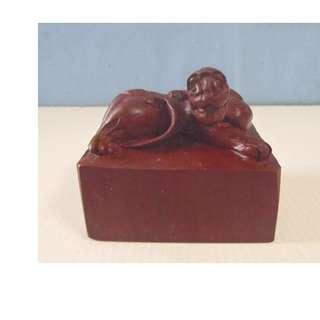 Chinese vintage hand carved stone mythological animal figurine c: mid 1900-s