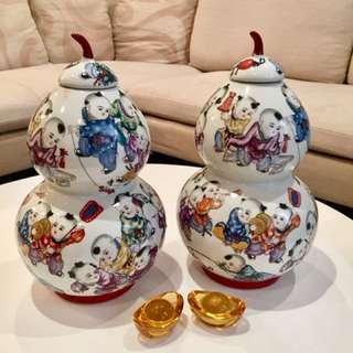 Large Porcelain Hulu Pair