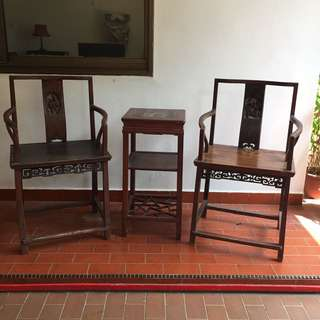 Antique Chinese Armchairs n Table