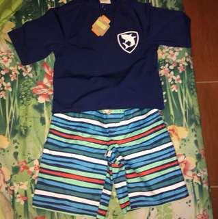 Crazy 8 rushguard with swimming shorts (brand new)