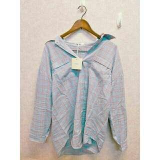 全新ob嚴選粉紅色粉藍色線條格紋格子長版襯衫長袖襯衫洋裝XL號大尺碼可