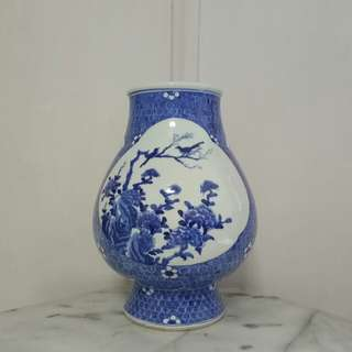 Old Porcelain Blue And White Flowers Vase with underglaze blue painting height 34cm perfect