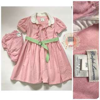 RL Pink Dress with Diaper Cover and belt