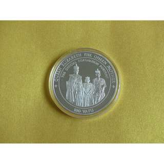 Ultra rare 100 Vatu massive sterling silver commemorative coin 1995 Anglophile collector item