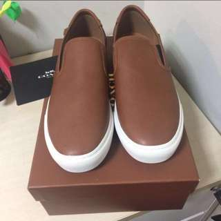Authentic Coach Men Slip On Leather Brown Size 9 ( Euro 42)