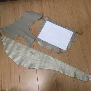 Silver bronze grey leather cow hide