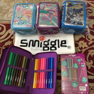 Smiggle Tripple Zip Kit with lots of items inside