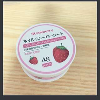 $1.60 MAILED - MINISO STRAWBERRY 48 PCS NAIL POLISH CLEANSING WIPES