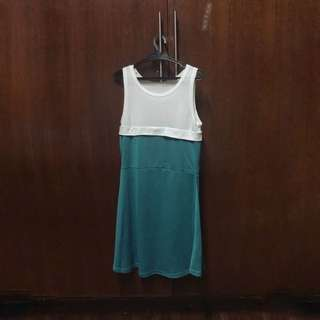 White and Blue-green dress