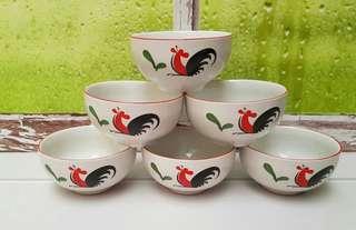 SIERA MOTIF AYAM JAGO Mangkok Keramik 4inchi KPQ4RB