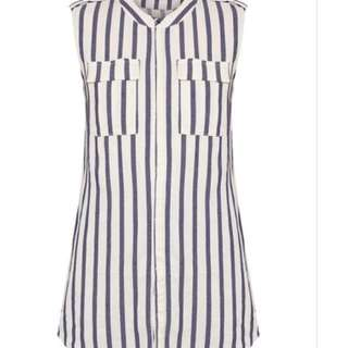 Stripe causal long top / dress