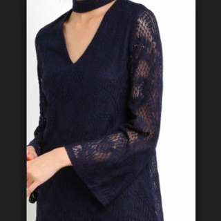 V neck collar blue lace dress