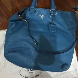 清櫃 PRADA 湖藍色大袋 Authentic 90new