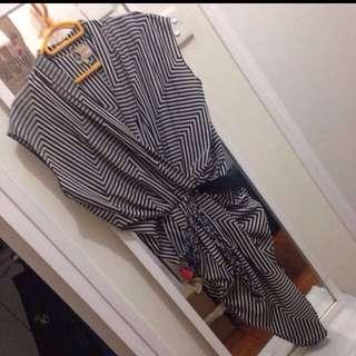 Lanvin Geometric print draped dress with  tasseled belt