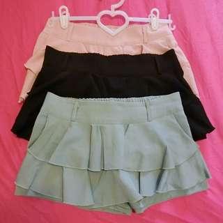 🚚 勿下標 已保留 蛋糕造型 褲裙 鬆緊舒適好搭配 4色可選擇 黑色 粉色 綠色 米色