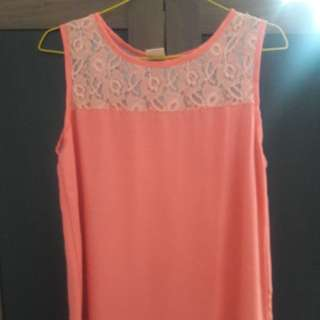 Preloved Atasan Tanpa Lengan Fit to L mat Satin semi Warna ke orange cakep import