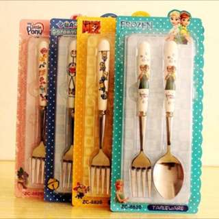 PO kids cutlery set brand new size is tablespoon and fork type not those kids size brand new gt Doraemon/frozen/minions/pony/tsum tsum /spiderman/mc queen