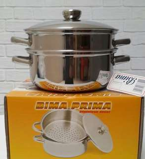 BIMA Panci Stainless steel Prima Pot & Steamer 24cm kukusan