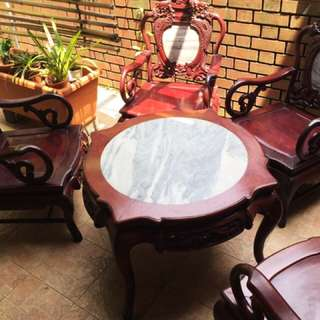 Rosewood and marble furniture set