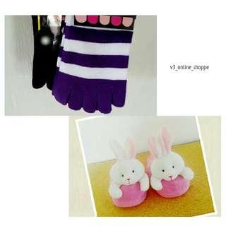 Cute Bunny Bedroom Slippers & Toe Socks