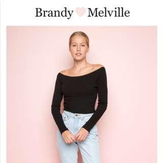 Brandy Melville Mayson long sleeve black off shoulder top