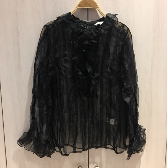 100蠶絲重磅春裝,黑色蕾絲,浪漫袖型,胸圍38吋,衣長63cm