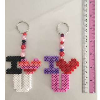 "Hama Beads ""I love you"" Keyring"