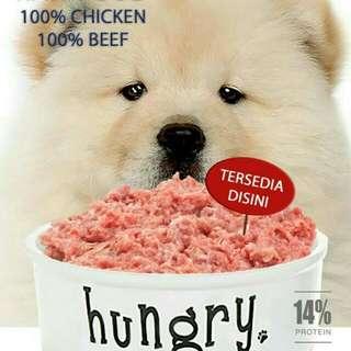 Makanan anjing daging ayam giling mentah