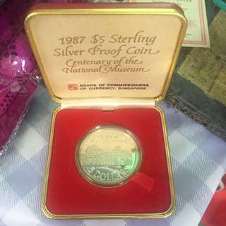 Singapore $5 1987 Silver Proof Coin Centenary Of The National Museum