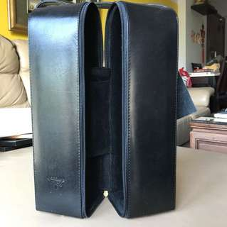 Authentic carlo Rossini leather two bottle wine carrier