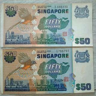 Singapore $50 Bird Series Old notes