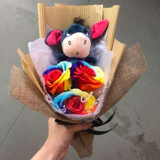 Eeyore rainbow soap rose bouquet
