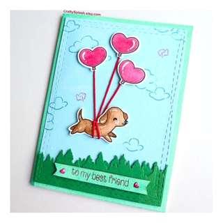 Handmade card, dog card, for a friend, valentines card, puppy,dog, heart shape balloons.