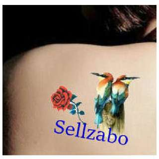 ✔$5 纹身粘纸 : 3D 小鸟:Birds : Can Remove Tattoo Stickers : Fake : Wash Off : Women : Woman : Girls : Ladies : Female : Body : Face : Skin : Colourful : Stick : Paste : Tatoo : Tatto : 6cmx10.5cm : 6cm x 10.5cm
