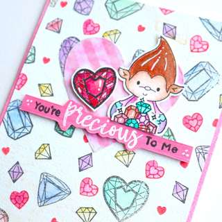 Handmade valentines day card, Heart, You are precious to me, Gem, valentine gifts.