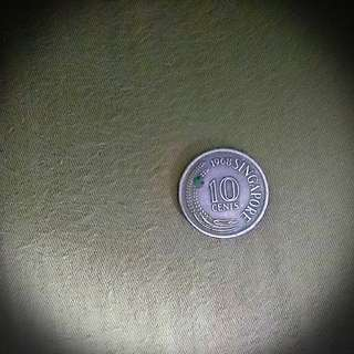 50 year old Singapore 10-cents coin 1968