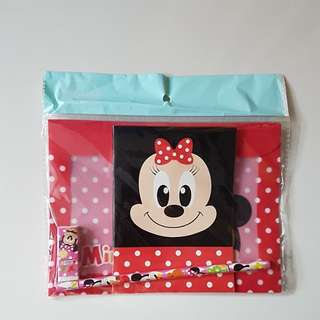 [Juniorcloset] 🆕 Authentic Disney Minnie Mouse stationery set Minnie pencil file eraser notebook (Japan Direct)