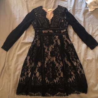 Korean black lace dress
