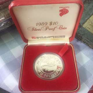 Singapore 1989 $10 Silver Proof Snake Zodiac