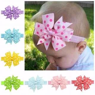 🦁Instock - polkadot ribbon headband, baby infant toddler girl children glad cute 12345
