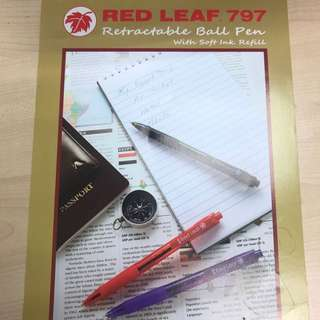 Red Leaf 797 Retractable Ball pen