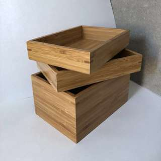 Japanese Acacia Wooden Box Trays