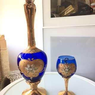 西洋酒瓶 酒杯一套 玻璃 蘭花 手工繪畫 wine glasses
